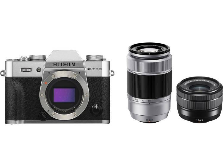 Systeemcamera Fujifilm X-T30 XC 15-45 mm + XC 50-230 mm 26.1 Mpix Zilver, Zwart Touch-screen, Elektronische zoeker, Klapbaar display, WiFi, Flitsschoen,