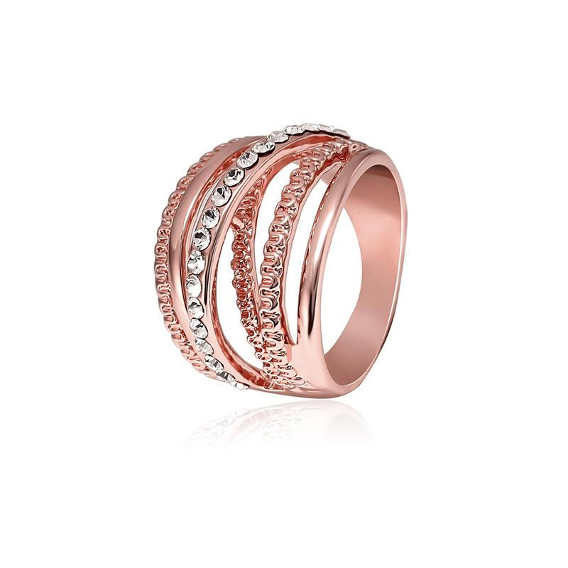 Hollow Out Interlaced Line Stijlvolle Verlovingsring Rose Gold Plated Women Jewelry