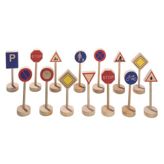 Houten speelgoed verkeersborden 15 stuks