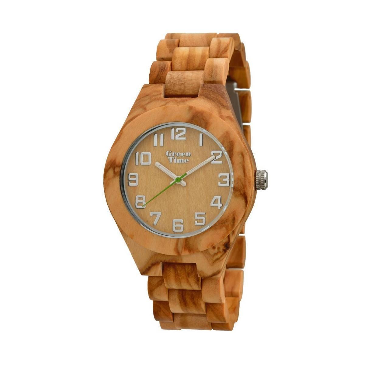 "GreenTime - Houten Unisex horloge ZW058A ""City Basic"" Florence , 3HD Quartz uurwerk (Olijf Hout, Bruin, Zilver accenten)"