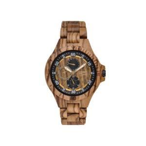 """GreenTime - Houten Unisex horloge ZW094B """"Sport"""" Zebra met Dag-Datum (Zebrano Hout, Zwart, Geel)"""