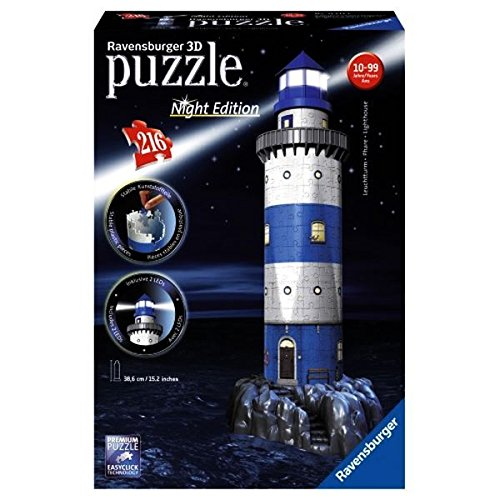 Ravensburger-12577-Puzzle-3D-Building-216-Pices-Phare-Night-Edition-0