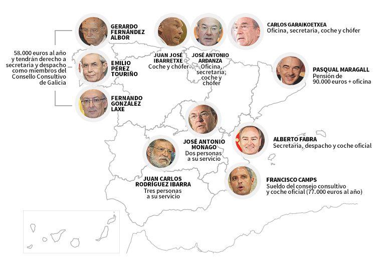 Mapa de los privilegios de los expresidentes autonómicos.