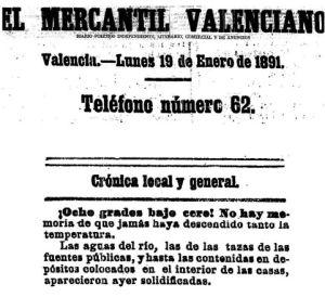 Diario 'El Mercantil Valenciano' del 19 de enero de 1891.