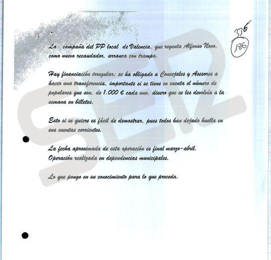 Nota anónima que dio origen a la investigación de la presunta financiación ilegal del PP de Valencia
