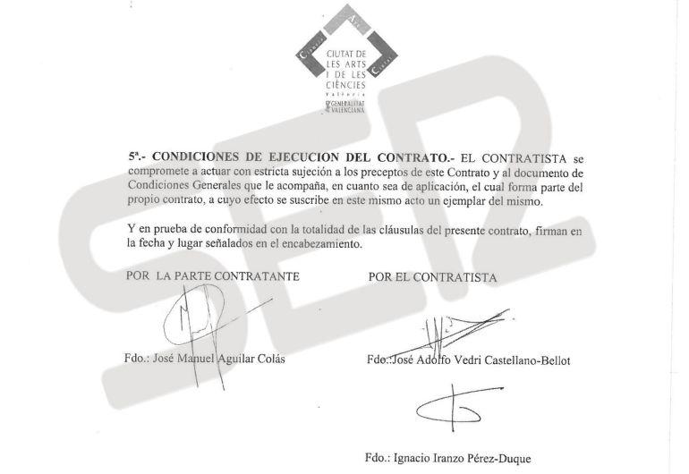 Contrato suscrito entre la ciudad de las Artes y las Ciencias y la empresa Process Color, de José Adolfo Vedri.
