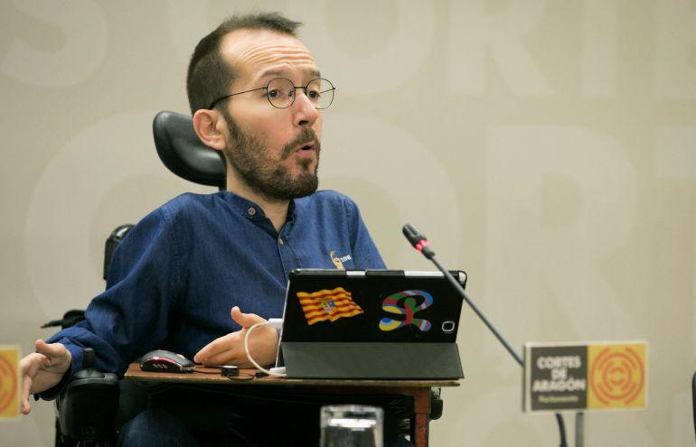 El secretario de Organización de Podemos, Pablo Echenique, durante una rueda de prensa