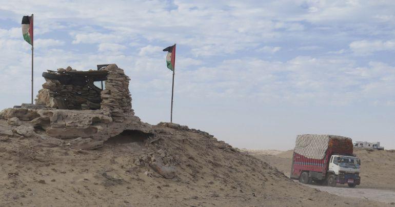 El Frente Polisario está instalado con un puesto en Guerguerat, la frontera  del Sáhara Occidental con Mauritania.