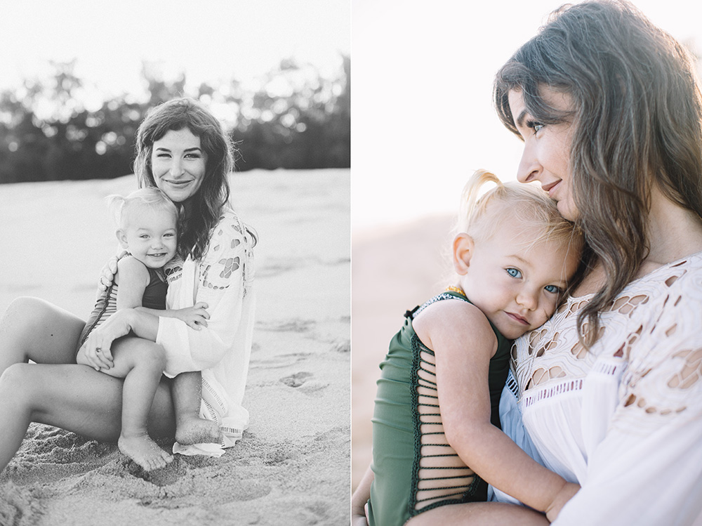 esme wearing baby acacia swimwear during her tropical moms session on Maui