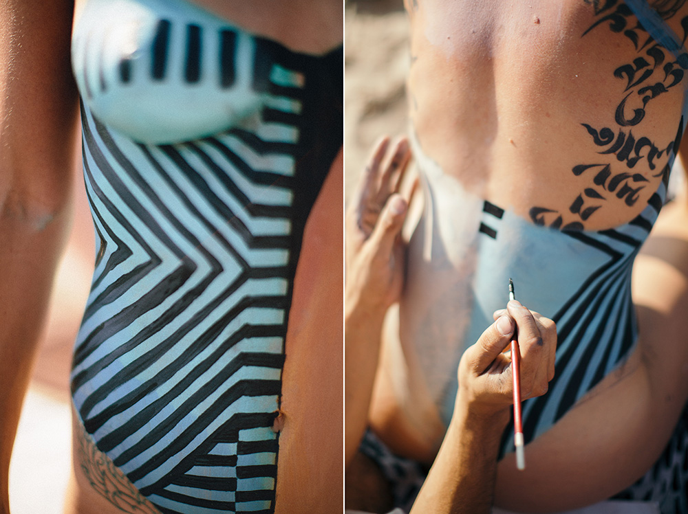 Michael Mejia bodypainting Charis Ruby at Riis Beach in NYC. photographed by cadencia photography.
