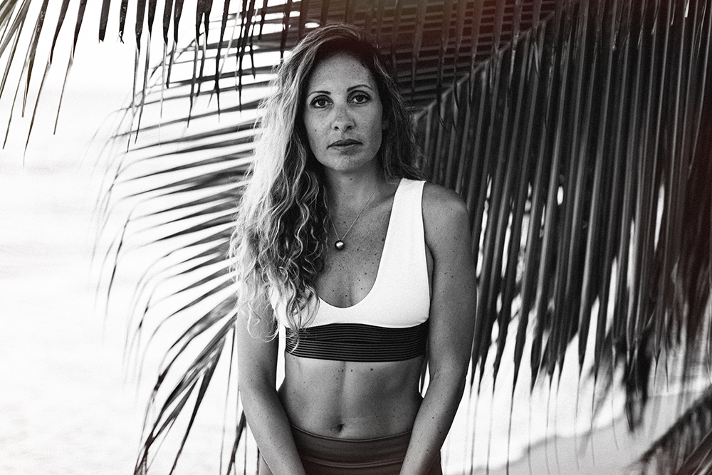 interview with trish bianco of infusion barre maui, located in paia hawaii. she's wearing olympia activewear.