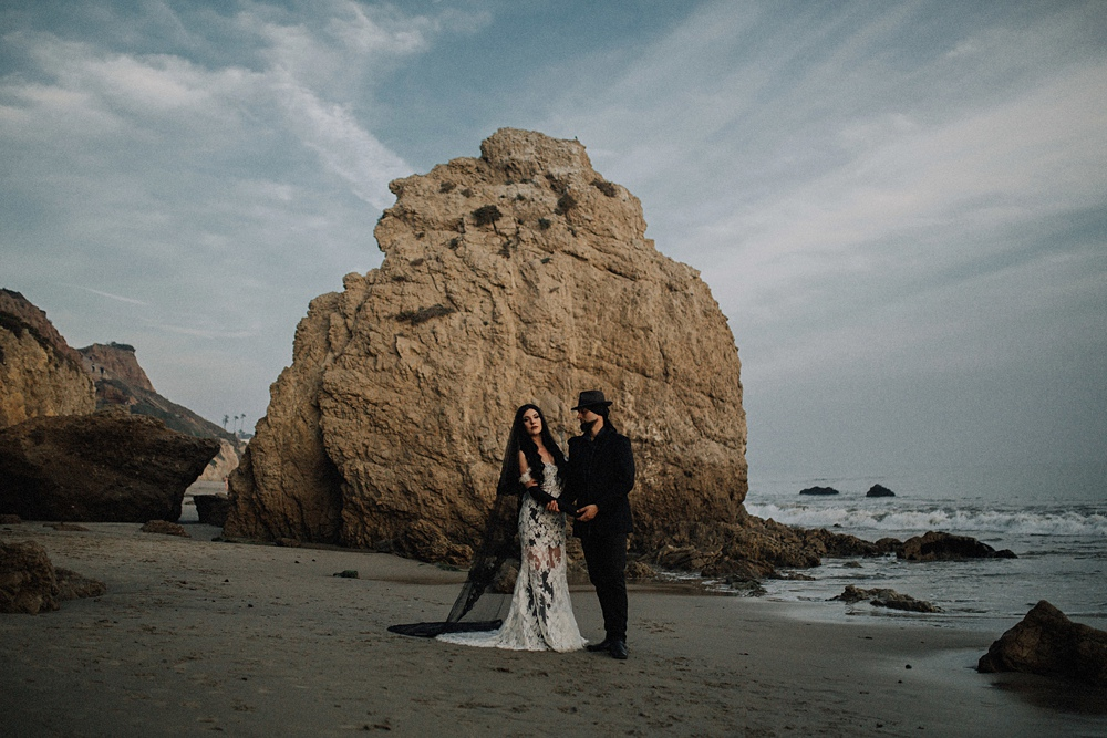 el matador beach wedding couple