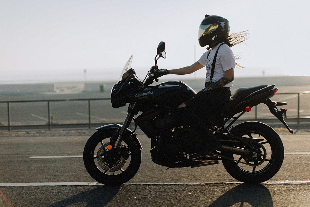 Women Motorcyclist riding the PCH