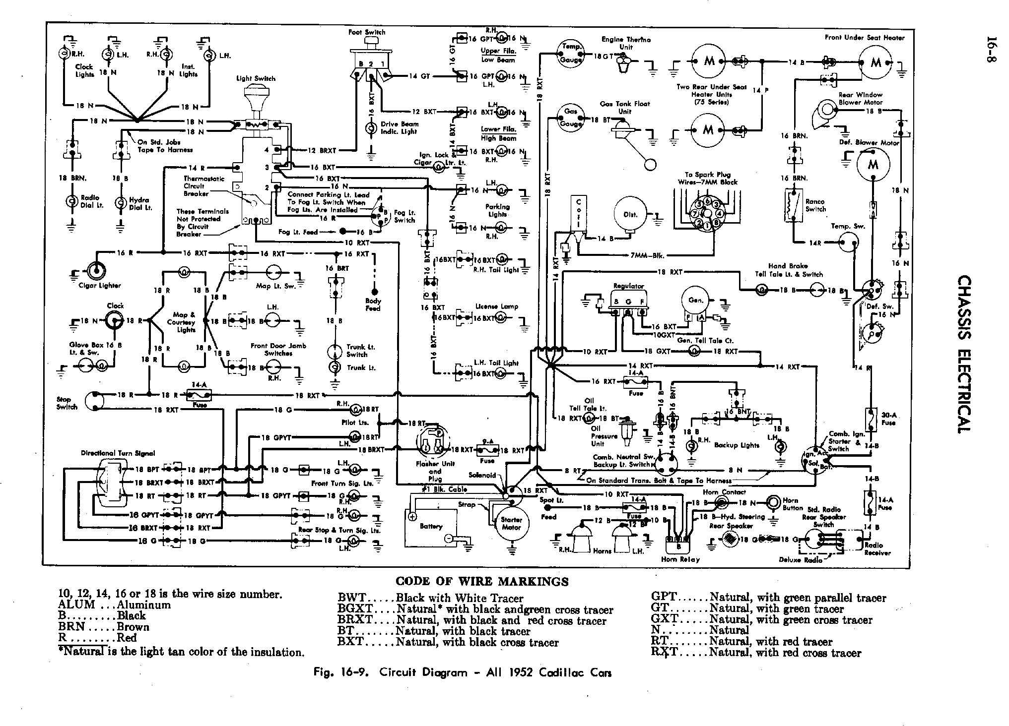1952 Cadillac Shop Manual- Chassis Electrical Page 8 of 16