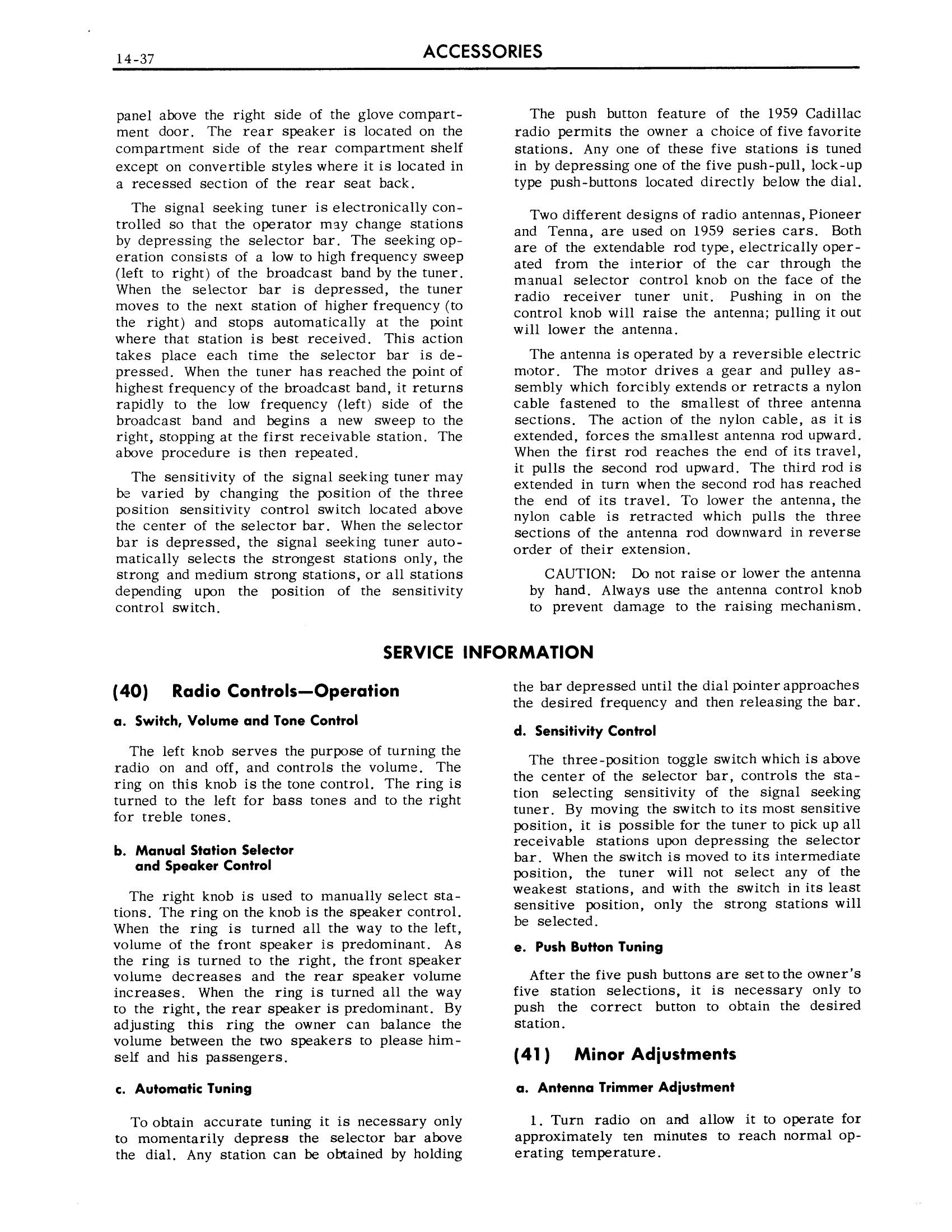 1959 Cadillac Shop Manual- Accessories Page 37 of 58