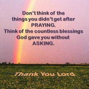 thanks to God for blessings