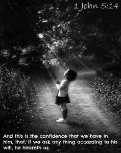 Confidence in God with child praying