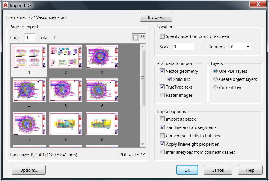 autocad convert pdf linework