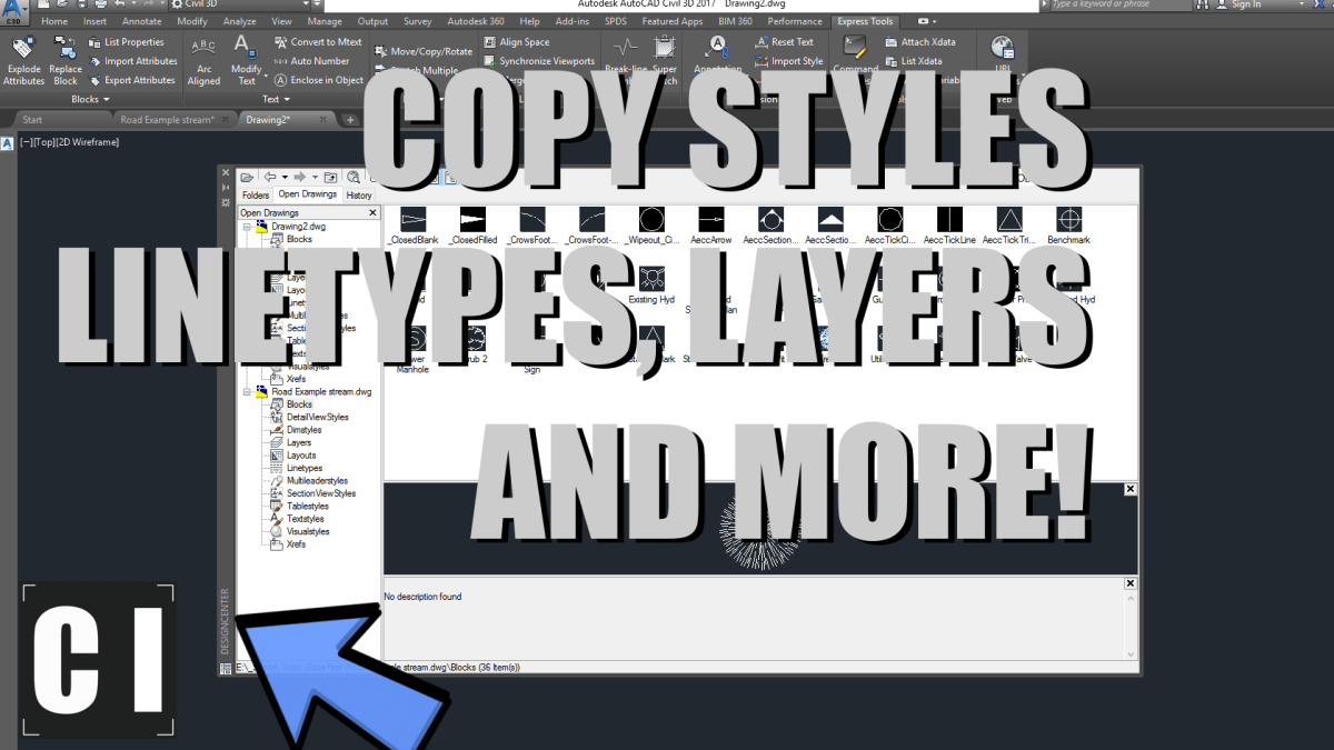 AutoCAD Tutorial: Design Center: Copy Styles, Linetypes, Blocks from