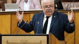El consejero de Salud y Familias, Jesús Aguirre, contesta a la interpelación del Grupo Socialista