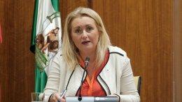 Laura Fernández, del Instituto Andaluz de la Mujer, interviene en la Subcomisión de Políticas Sociales y demás Servicios esenciales