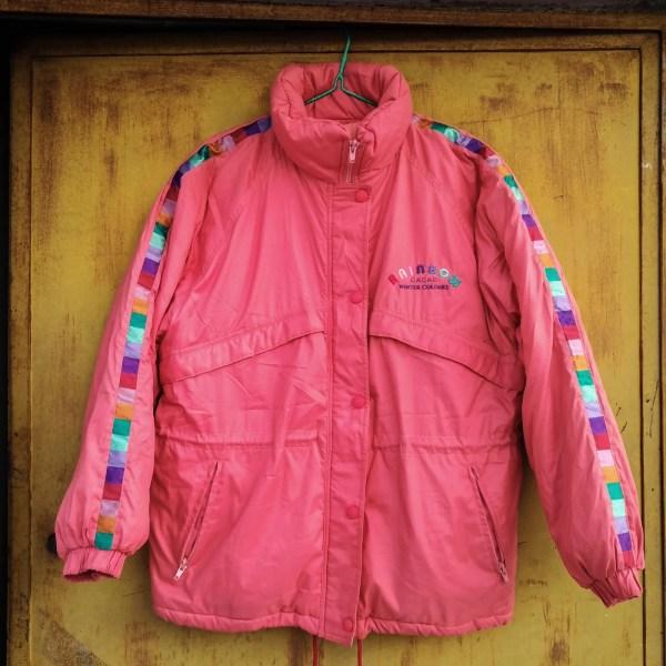 giacca da neve Cacao anni '90, color salmone con dettagli ricamati multicolore