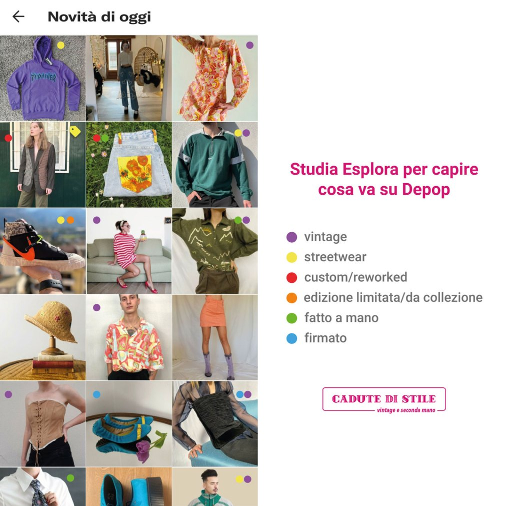 oggetti in vendita su Depop Esplora classificati per tipo (vintage, streetwear, firmato etc)