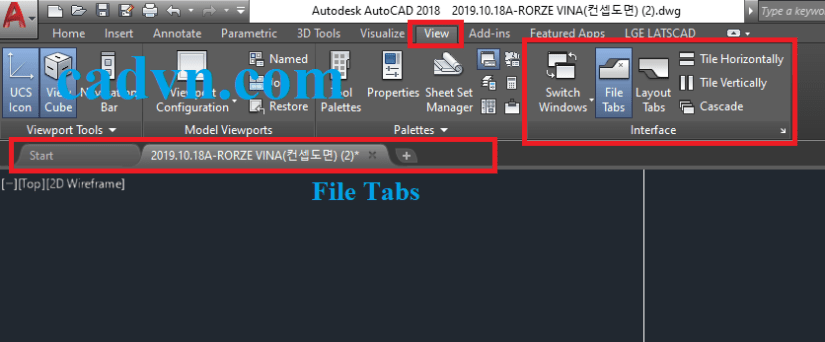 Mất file tabs trong autocad