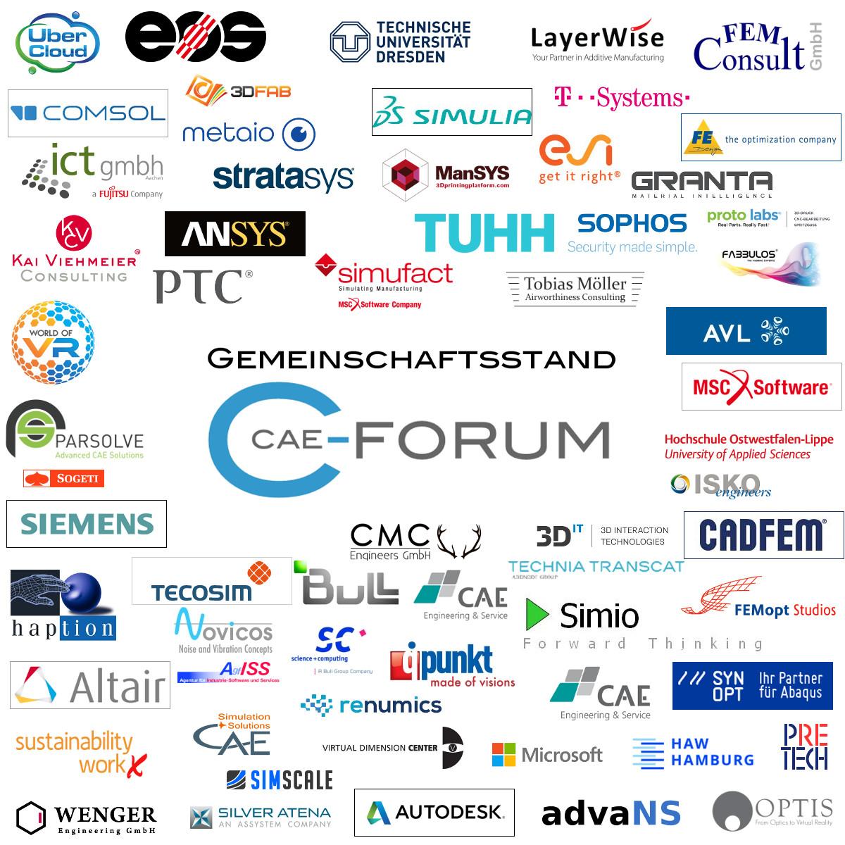 Vortragende Unternehmen auf dem CAE-Forum Gemeinschaftsstand