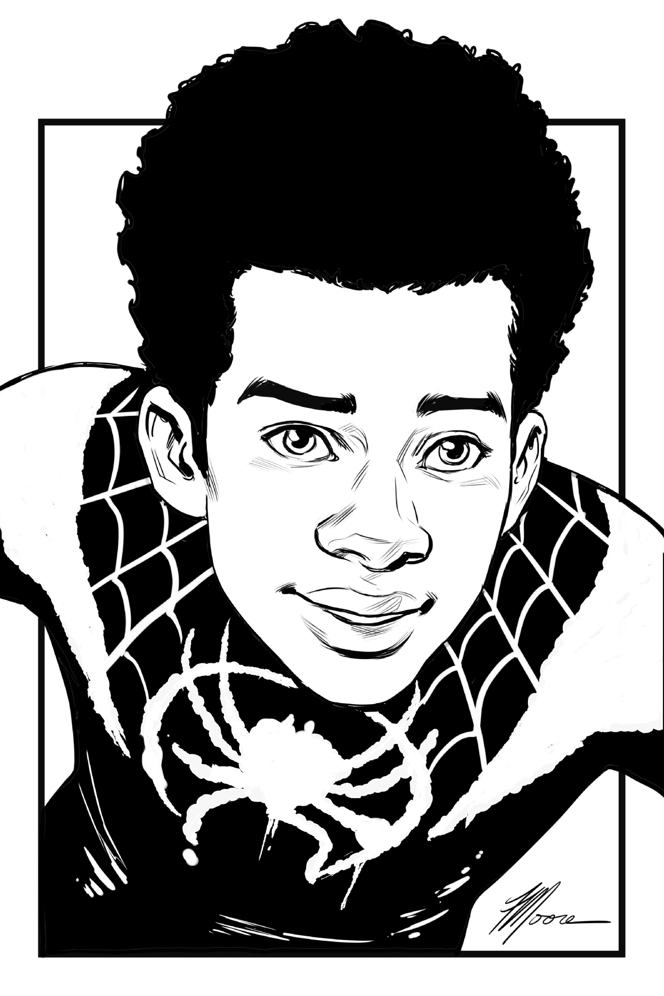 How To Draw Miles Morales Face : miles, morales, Miles, Morales, Spider-Man:, Spiderverse, Travis, Moore, (Digital, Commission,, Todd's, Commissions, Comic, Gallery