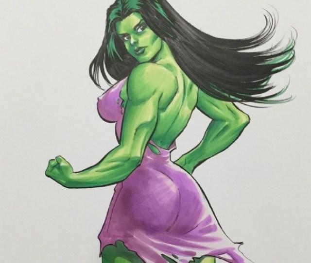 Mighty Avengers Sexy She Hulk Original Art By Scott Dalrymple In