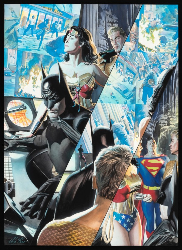 Alex Ross Jla Liberty And Justice Comic Book Page Original Art Framed Display. In Hake'