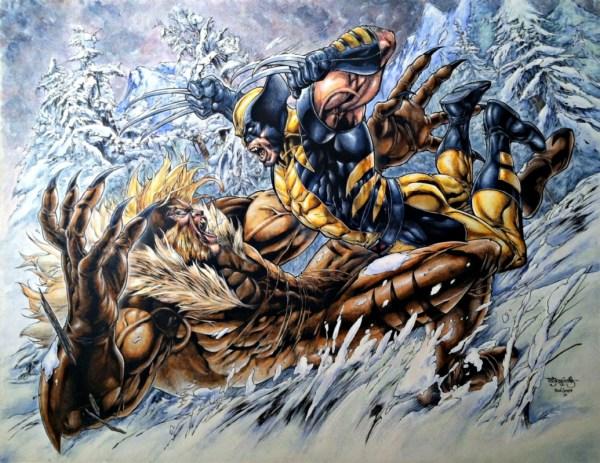 Wolverine Sabertooth Painting In Jamo' Art' Brad Green