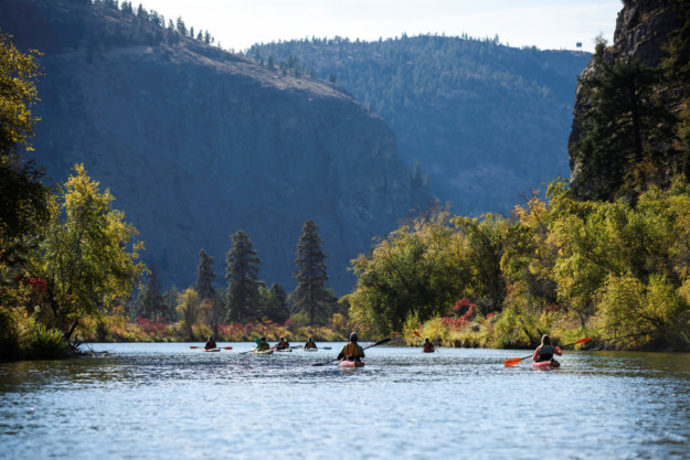 Kayaking with Hoodoo Adventures on Vaseux Lake, between Oliver and Okanagan Falls, British Columbia