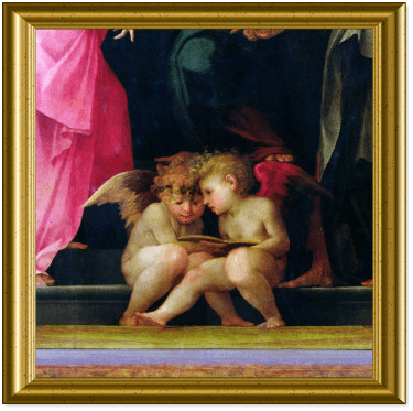 Two Cherubs Reading, Detail from Madonna and Child with Saints by Rosso Fiorentino (Battista di Jacopo)