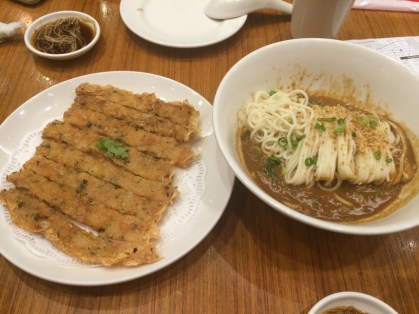 Prawn pancake and dandan noodles