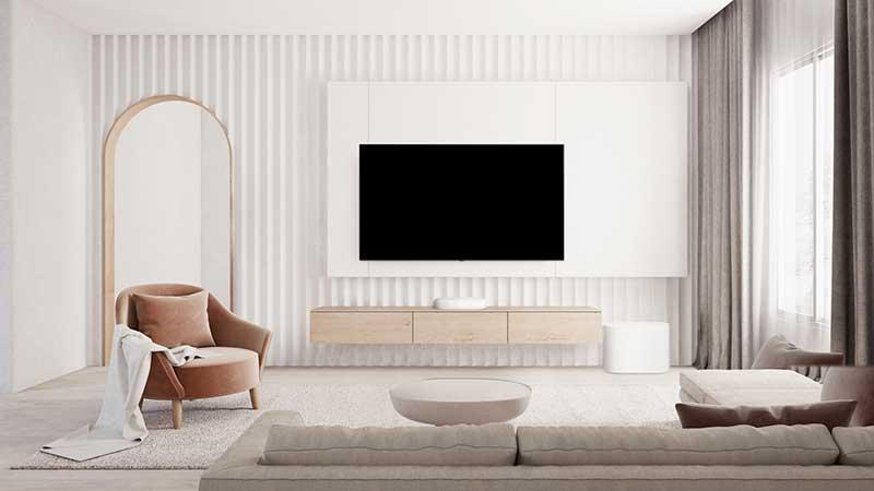 LG Eclair White Lifestyle - Nueva barra de sonido LG QP5 Éclair: diseño compacto con Dolby Atmos y DTS:X