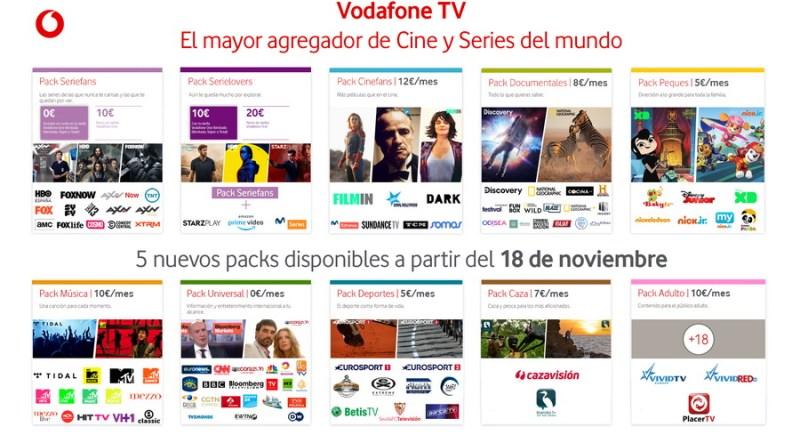 vodafone tv3 - Vodafone TV completa su oferta con 5 nuevos packs temáticos