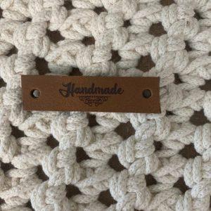 Lederen label Handmade