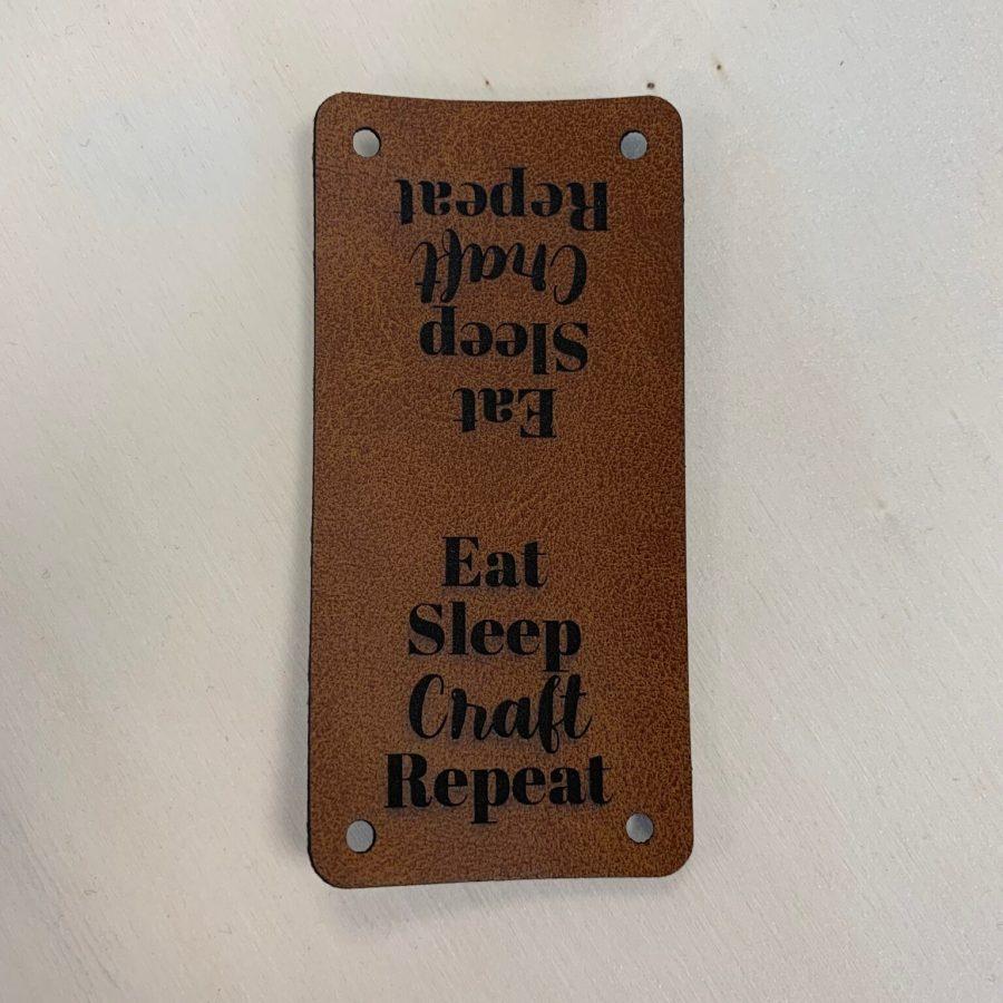 Kunstlederen label eat, sleep, love, repeat