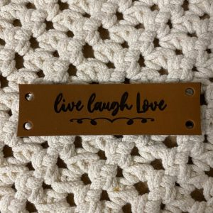 Lederen label Live Laugh Love