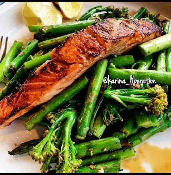 Pan Fried Soy Sauce and Lemon Salmon with Stir Fried Greens