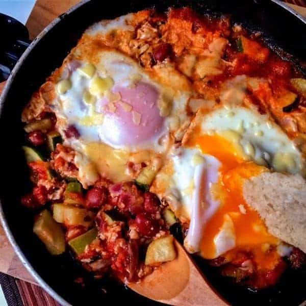 Eggs & Beans In Spicy Purgatory