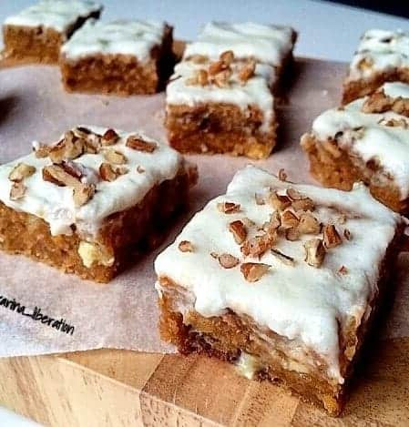 Healthy White Chocolate Carrot Cake Blondie Bars