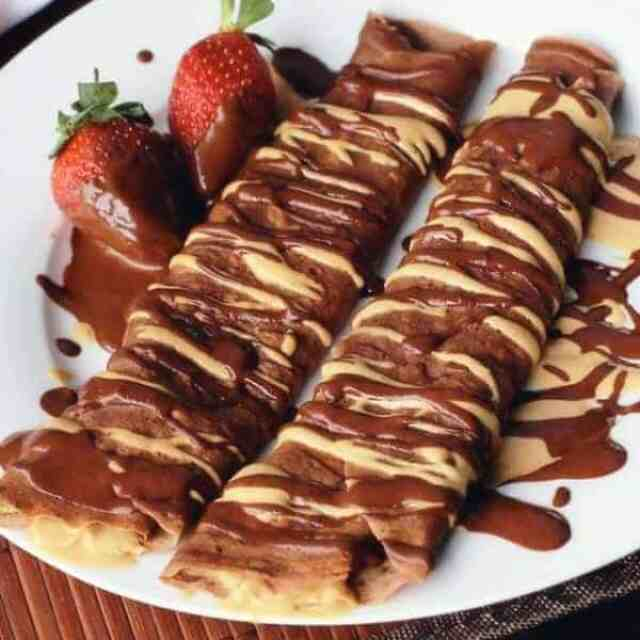 Chocolate Peanut Butter Crepes - Cafe Delites