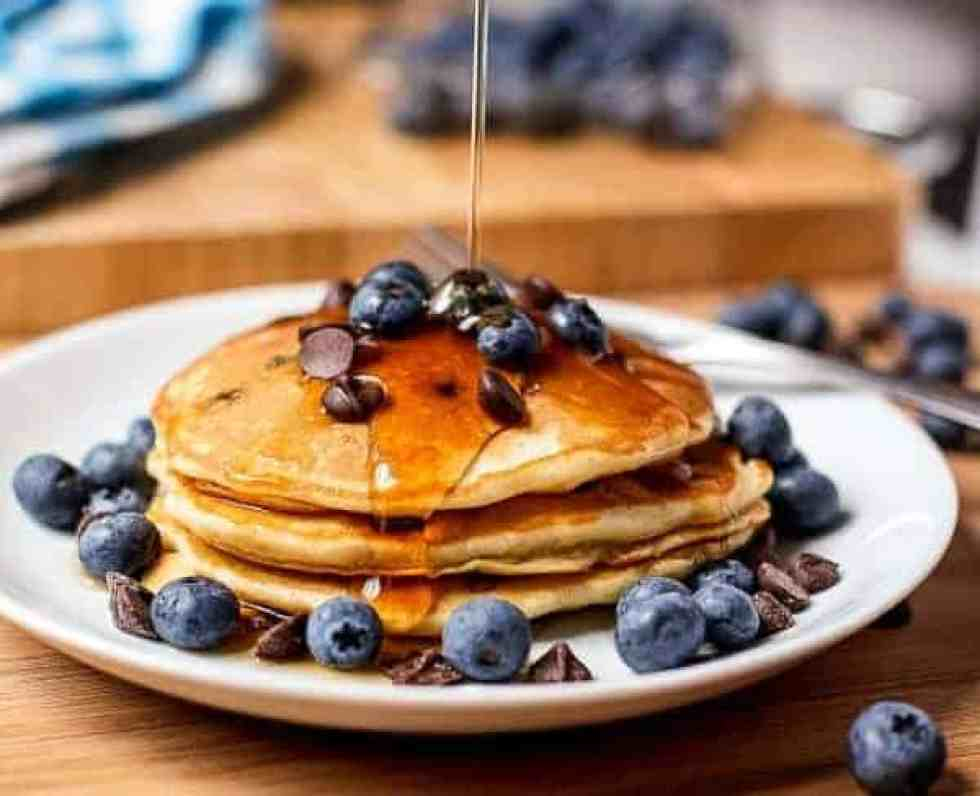 Blueberry Chocolate Chip Pancakes - Cafe Delites