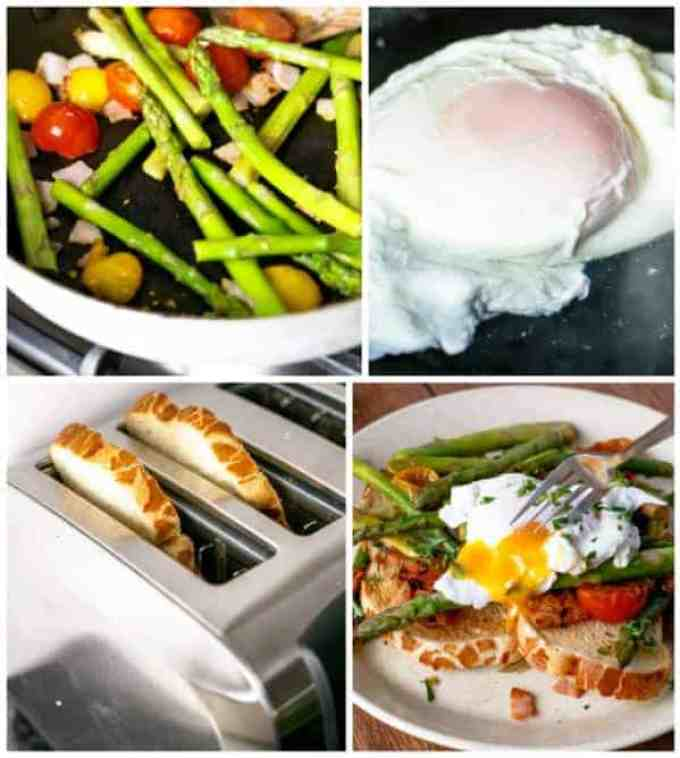 Pan Fried Asparagus with Poached Eggs Bruschetta HOW TO - Cafe Delites