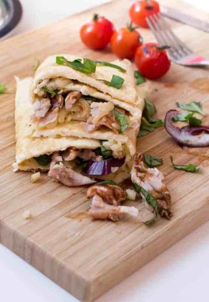 Barbeque Chicken Pizza Egg Wrap - Cafe Delites