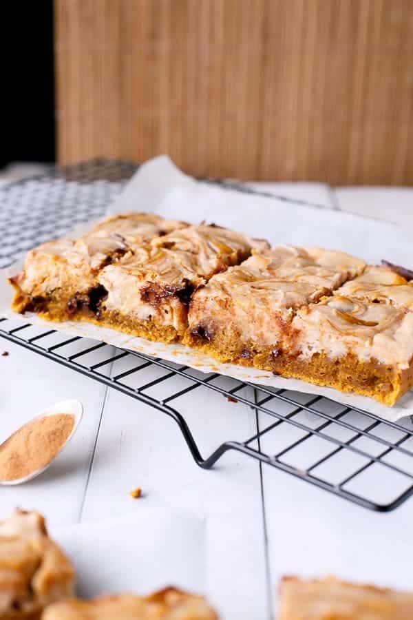 Cheesecake Swirl Pumpkin Blondies - Cafe Delites
