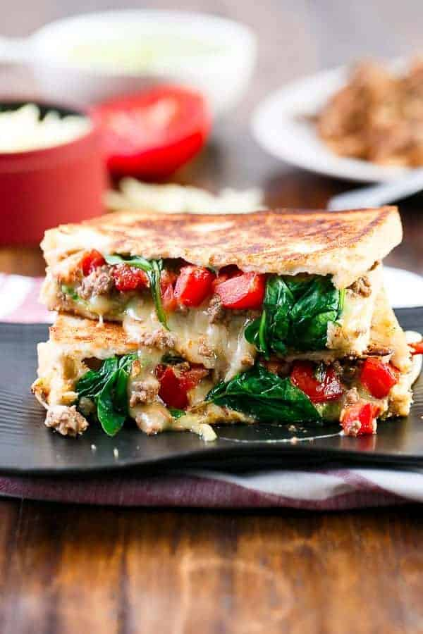 Loaded Taco Grilled Cheese https://cafedelites.com